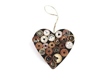Vintage Thread Spools, sewing decor, primitive decor, primitive heart, gift for sewer, gift for quilters, spool art