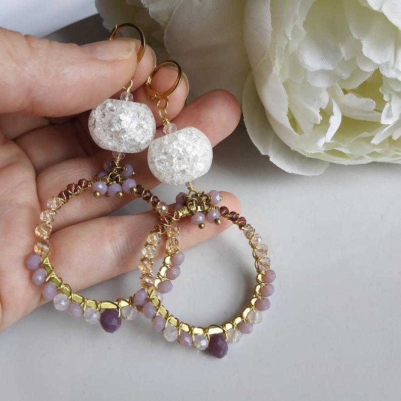 gemstone jewelry,boho hoops Czech glass,wire wrapped earrings Crystal quartz hoop earrings