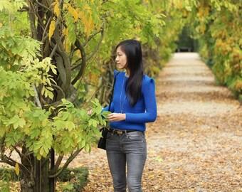 Womens Wool Sweater Autumn trends Long Sleeves Electric Blue Hand Knit Minimalist Sharp Shoulder Black Sale