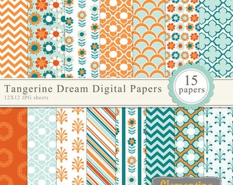 Tangerine Dream digital papers, digital scrapbooking paper, royalty free commercial use- Instant Download