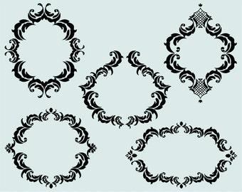 Damask clip art frames,  frames clip art images,  frames clipart,  royalty free cilp art- Instant Download