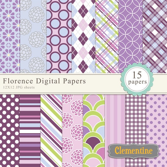Floral Digital Scrapbook Paper 12x12 Royalty Free Digital Etsy