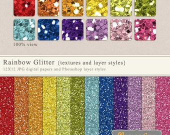 Glitter textures 12x12 and Photoshop layer styles,  glitter digital scrapbooking paper, commercial use -Instant Download