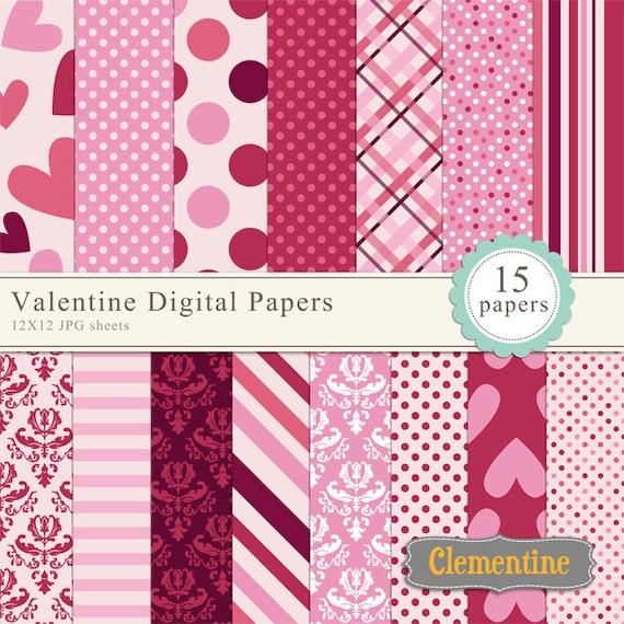 Digital or Printable Modern Valentine/'s Day Digital Scrapbook Paper 12 x 12