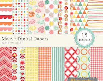 Maeve floral digital papers, digital scrapbooking paper, royalty free commercial use- Instant Download