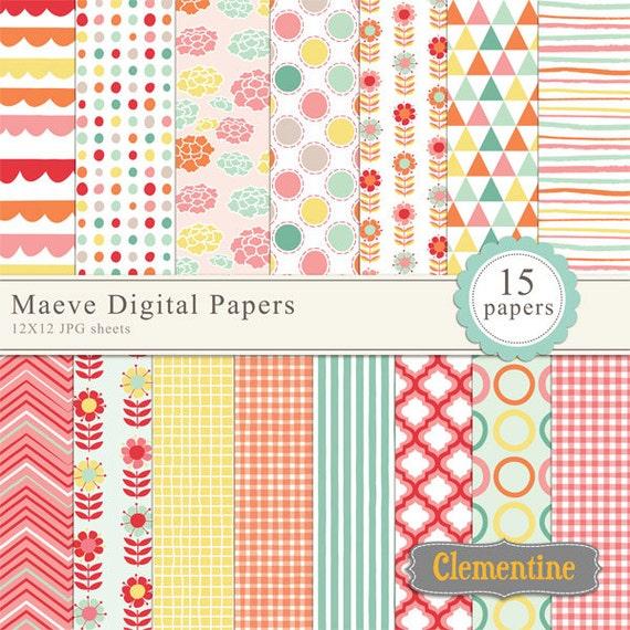maeve floral digital papers digital scrapbooking paper etsy