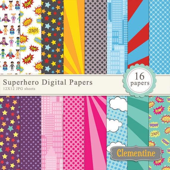 Superhero scrapbook paper 12x12, comic book digital ...