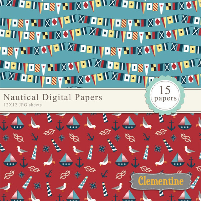 Nautical scrapbook paper 12x12 royalty free nautical digital scrapbooking paper Instant Download