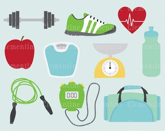 Fitness clip art images,  gym clip art,  fitness vector, royalty free clip art- Instant Download