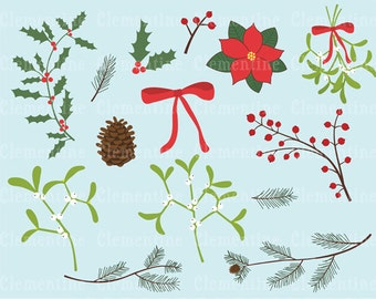 Winter foliage clip art images,  mistletoe clip art, holly clip art, royalty free clip art- Instant Download