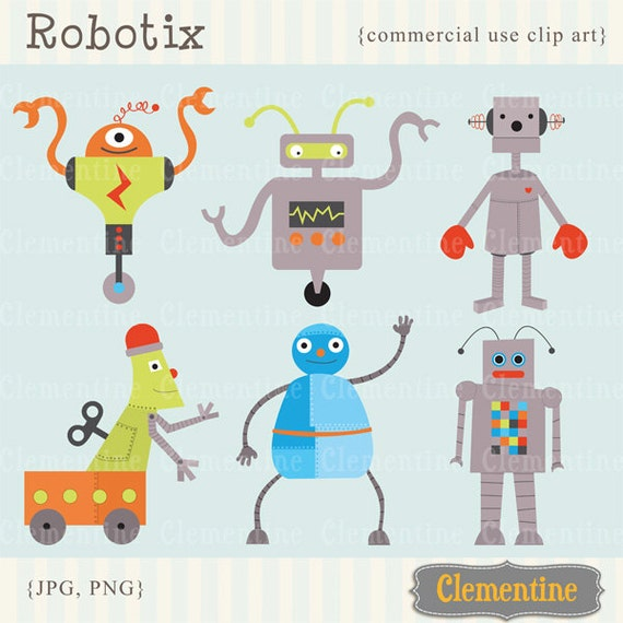 robot clip art images royalty free commercial use instant etsy rh etsy com royalty free clipart for commercial use Rules Clip Art