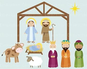 Christmas clip art images, Nativity clip art, Christian clip art,  Royalty free clip art- Instant Download