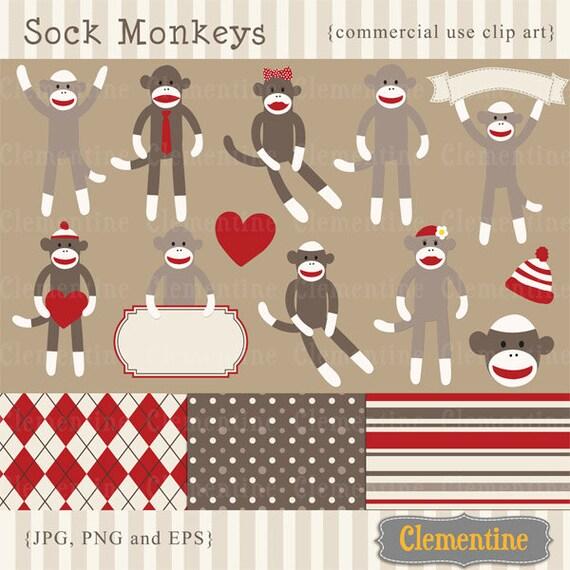 sock monkey clip art images sock monkey clipart sock monkey etsy rh etsy com Sock Monkey Template Drawing Sock Monkey Template Drawing