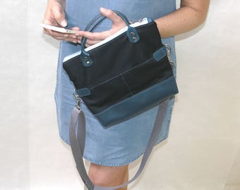 Recycled Leather Crossbody Bag  Leather Foldover Purse  Upcycled Leather Messenger  Navy Blue Leather Bag  Abby Crossbody Bag