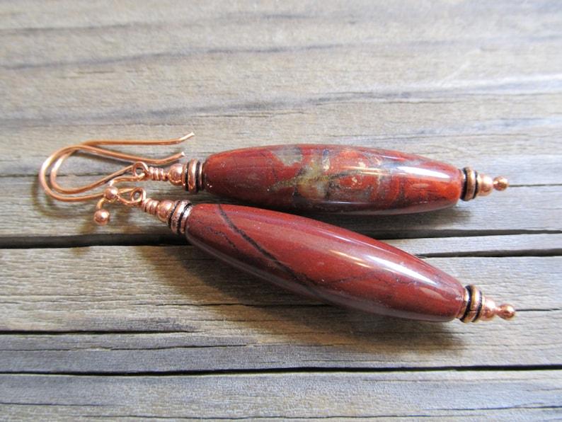 Red Rainbow Jasper Earrings in Copper Daenerys III