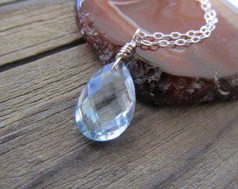 AA Swiss Blue Topaz Faceted Teardrop Necklace, Wire Wrapped, Baby Blue, Sterling Silver, Gemstone, Faceted