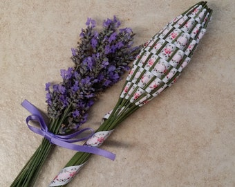 Real Lavender Wand Pink Flowered Jacquard Ribbon Huge OOAK Fragrant Botanical Floral Home Decor Centerpiece