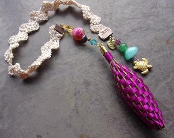 Lavender Filled Fragrant Flowers Botanical Violet Satin Ribbon Bookmark Crocheted Lace Sea Turtle Charm