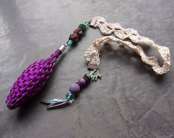 Lavender Filled Fragrant Flowers Botanical Purple Satin Ribbon Bookmark Crocheted Lace Two Feathers