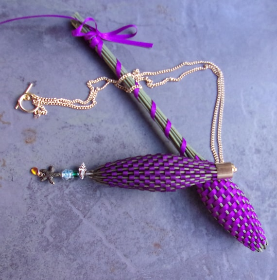 Lavender Filled Wands Set of 5 Fragrant Dried Flowers Woven Into Tiny Basket Satin Ribbon Shades of Purple