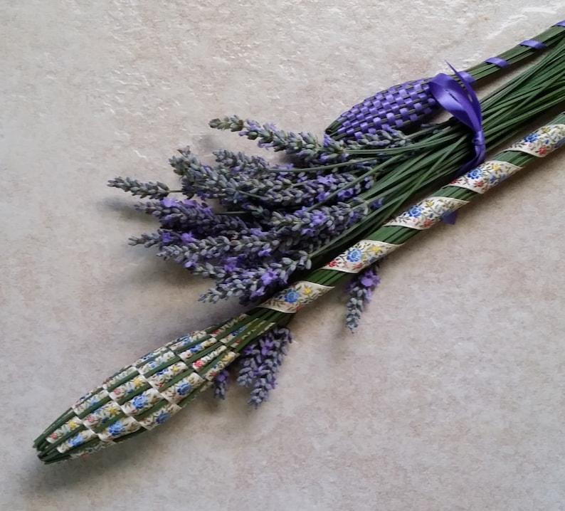 Lavender Filled Wand Rare Vintage Jacquard Floral Ribbon Royal Scepter Baton English Lavender