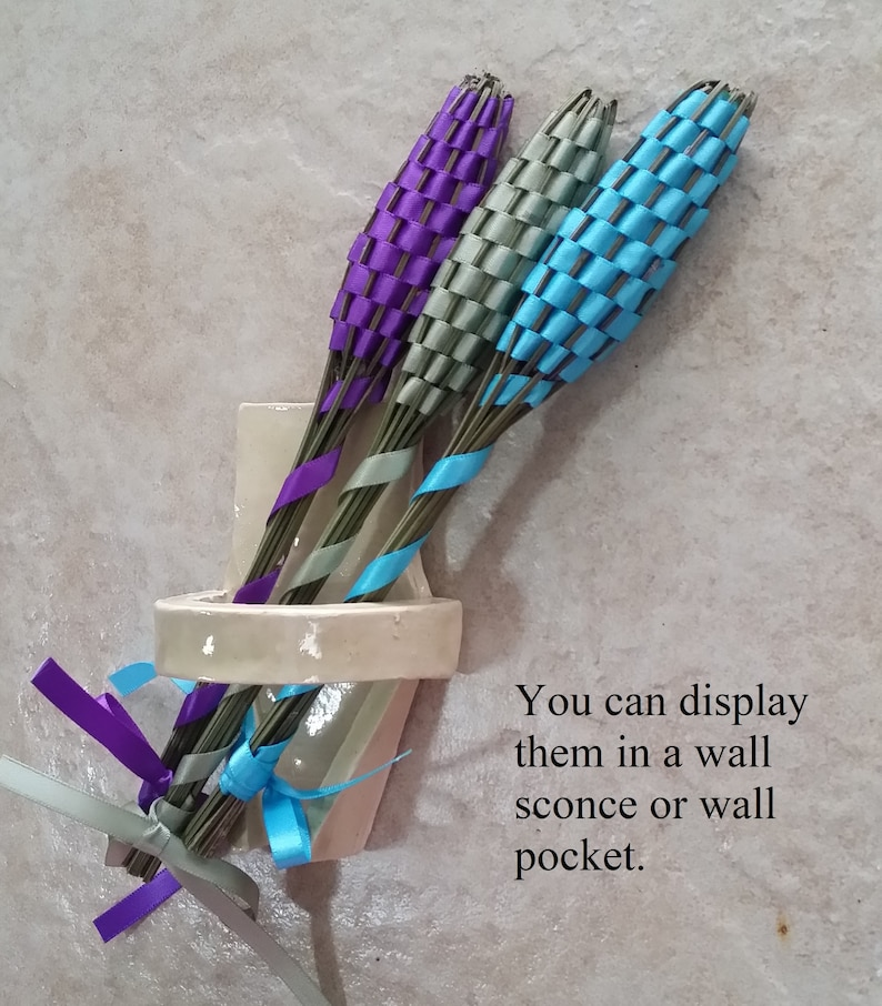 Lavender Filled Wands 3 Fragrant Dried Flowers Plum Satin Ribbon Small Batons Appreciation Gift Hospitality