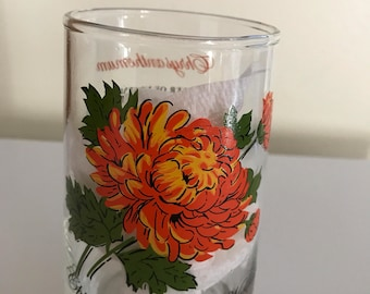 Vintage 70's Flower of the Month November Mum Chrysanthemum Tumbler Glass