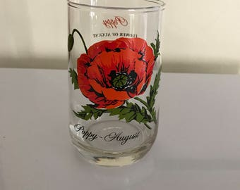 Vintage 70's Flower of the month August Poppy Tumbler Glass series