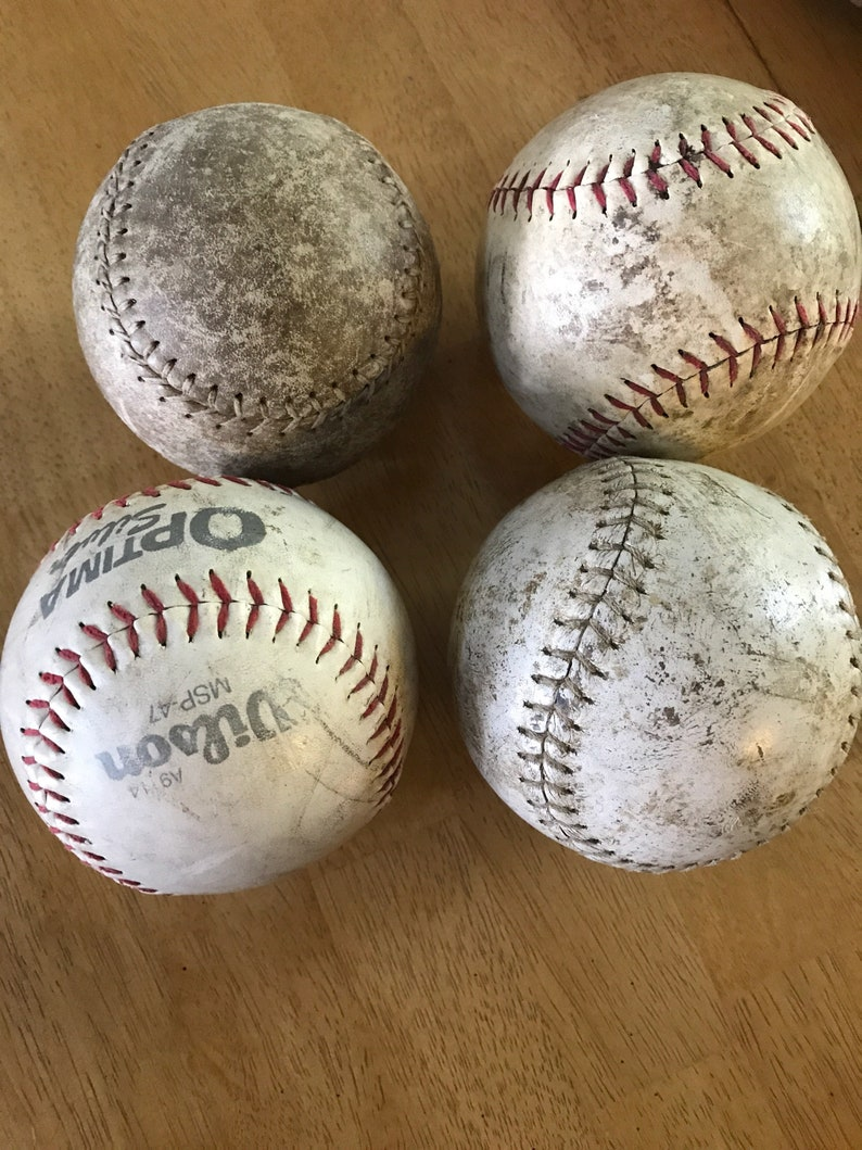 Lot of 4 old dirty grungy soft balls softball bowl fillers decor craft