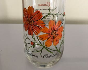 Vintage 70's Flower of the Month October  Cosmos Tumbler Glass drinking