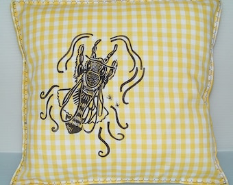 Honey Bee Pillow Cover-SALE- Country Cottage Yellow Gingham- 12 x 12 inch