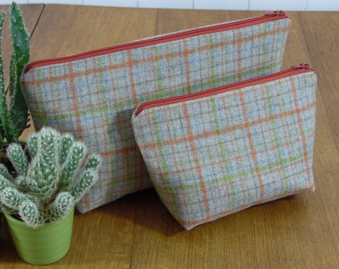Featured listing image: REDUCED Checked Toiletry Cosmetic Bag wool with an acrylic oilcloth lining