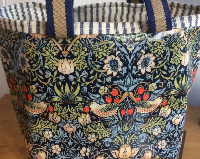 Featured listing image: William Morris Strawberry Thief Print blue oilcloth tote bag shopper project bag