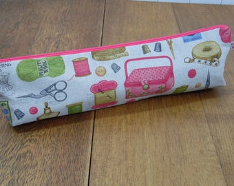Vintage Sewing Notions and Haberdashery Print Knitting needle bag zipped pouch