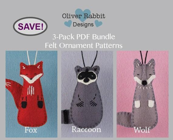 Felt ornament pattern bundle fox raccoon wolf woodland etsy