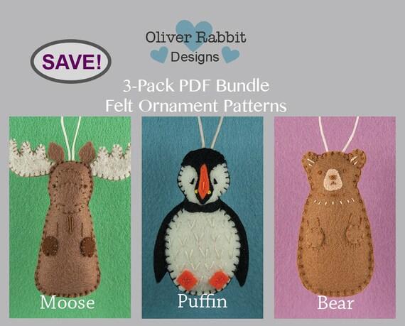 Felt Ornament Pattern Bundle Moose Puffin Bear Felt Sewing Etsy