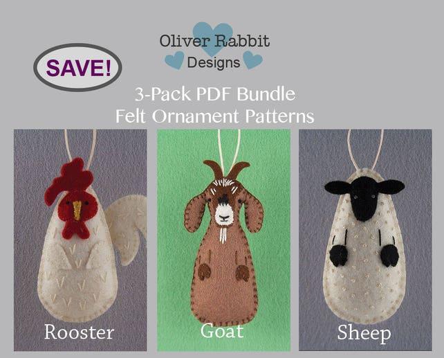 Felt ornament pattern bundle rooster goat sheep farm etsy