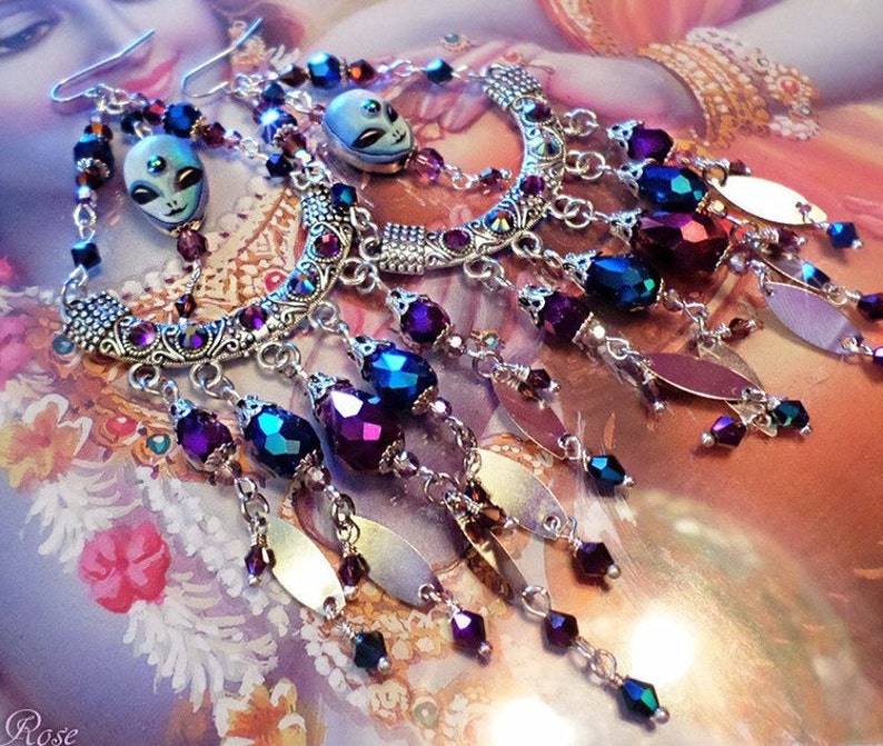 Alien Earrings! Blue Andromedan Purple & Blue Crystal Chandelier Earrings,  Silver 5