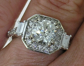 DIAMOND ENGAGEMENT Ring~Beautiful 2.24cts TW Diamond Engagement Ring w/Baguettes