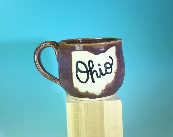 """Ohio Mug in Lavender // Small Handmade Ceramic Mug with """"Ohio"""" // Gifts  for Ohioans, Travelers or College Students - READY TO SHIP"""