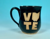 Vote Ohio Mug in Black // Handmade Ceramic Mug // Gifts  for Ohioans, Travelers or College Students - READY TO SHIP