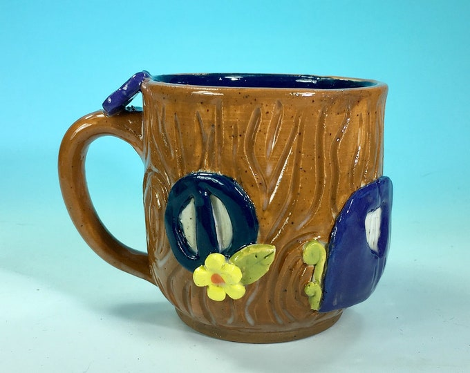 Treehouse or Fairy Mug // Sculpted Ceramic Mug with Fairy House Details // Gifts for Her, Free Spirit, Fairies, Gnomes - READY TO SHIP