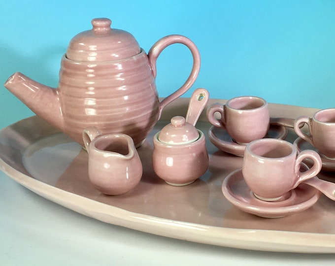 Miniature 17-Piece Tea Service with Tray // Handmade Porcelain Tea Set, Cherry Blossom Pink // For Tea Parties and Children - READY TO SHIP