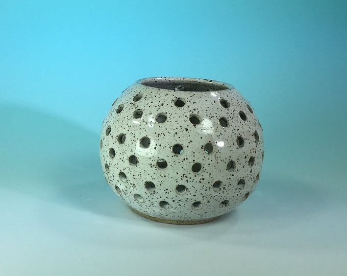Handmade Ceramic Candle Holder in White Speckled // Gifts for Her, Housewarming, Valentines Day, Birthdays or Weddings - READY TO SHIP