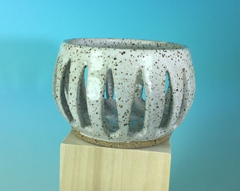 Small Handmade Ceramic Candle Holder in White Speckled // Gifts for Her, Housewarming, Valentines Day, Birthdays or Weddings - READY TO SHIP