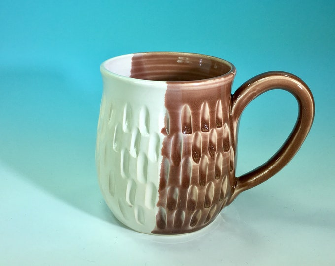 Hand-Carved Ceramic Mug in White and Lavender // for Coffee, Cocoa & Tea Lovers // Microwave and Dishwasher Safe - READY TO SHIP
