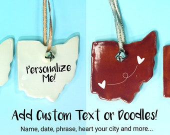 Ohio Ornament Personalized with Your Custom Message // Holiday Gift Tag or Decor // Gifts for Ohioans or Travelers – READY TO SHIP