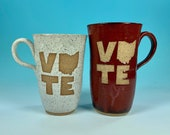 Tall Narrow Vote Ohio Mug in White or Red // Handmade Ceramic Mug // Gifts  for Ohioans, Travelers or College Students - READY TO SHIP