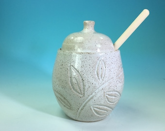 Honey Pot with Wooden Dipper with Floral Carving // Carved Handmade Pottery Honey Jar // Housewarming or Wedding Gifts - READY TO SHIP
