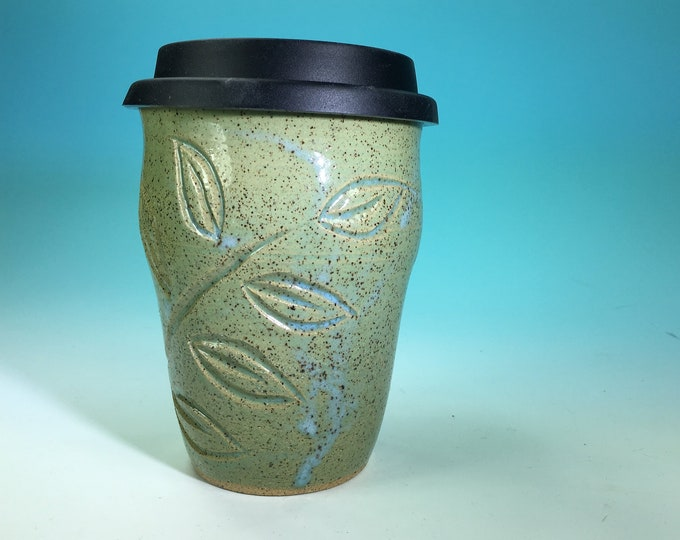 Turquoise Carved Travel Mug // Hand-Carved Mug with Silicone Travel Lid // Handmade Mug with  Leaf and Flower Detail - READY TO SHI